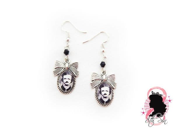 Antique Silver Edgar Allan Poe Earrings